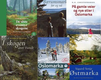 Omslagene til 7 markebøker - Oslomarka - Opplev marka - Fantastiske marka