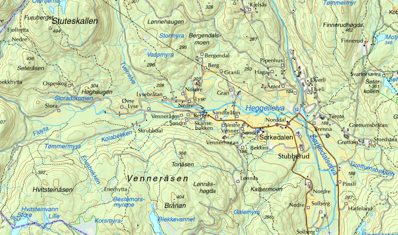 Kartutsnitt av heggelielva og Sørkedalen - Oslomarka - Bærumsmarka