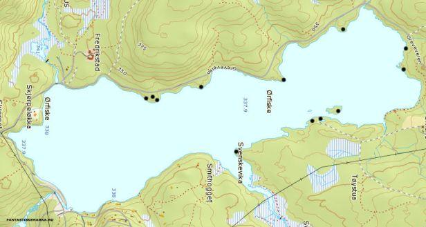Kartutsnitt over Ørfiske med avmerking av teltplasser - Oslomarka - Nordmarka - Fantastiske marka