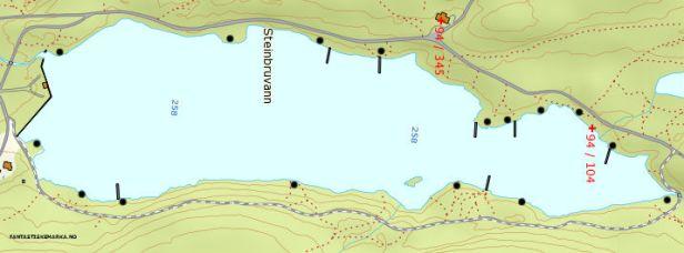 Kartutsnitt over Steinbruvann med avmerking av teltplasser - Oslomarka - Lillomarka - Fantastiske marka