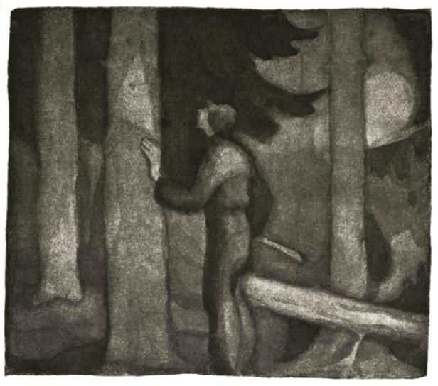 Illustrasjon fra En Jegers Beretninger av Bernhard Herre - Oslomarka - Nordmarka - Fantastiske marka
