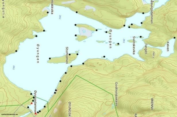 Oversikt over teltplasser ved Øyungen - Oslomarka - Nordmarka - Fantastiske marka