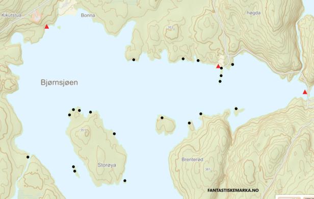 Oversikt over teltplasser nord i Bjørnsjøen - Oslomarka - Nordmarka - Fantastiske marka