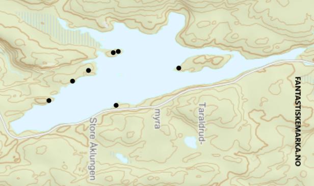 Oversikt over teltplasser ved Store Åklungen - Oslomarka - Nordmarka - Fantastiske marka