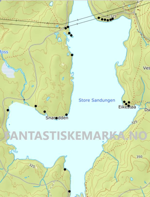 Leirplasser teltplasser hengekøyeplasser ved Store Sandungen i Vestmarka - Oslomarka - Fantastiske marka