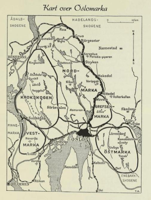 Kart over Oslomarka fra 1938 - Oslomarka - Fantastiske marka