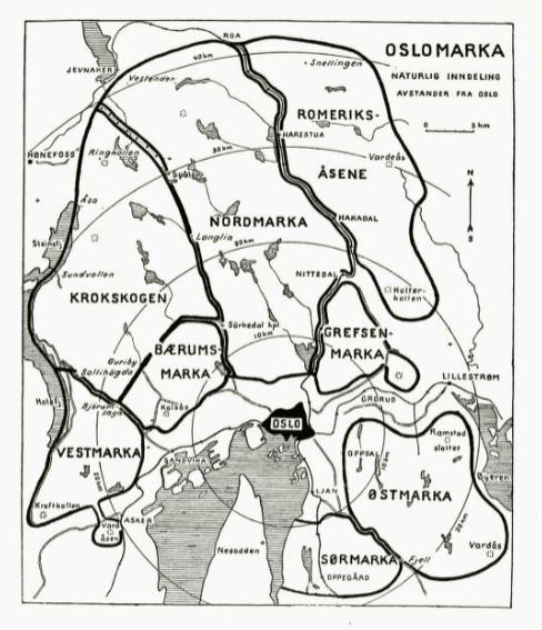 Kart over Oslomarka fra 1941 - Oslomarka - Fantastiske marka