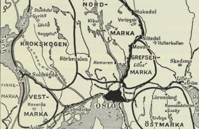 Kartutsnitt av Oslomarka tegnet i 1938 - Oslomarka - Fantastiske marka