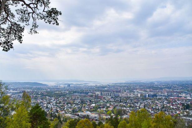 Utsikt over Oslo sentrum og Oslofjorden fra Grefsenkollen - Oslomarka - Lillomarka - fantastiske marka