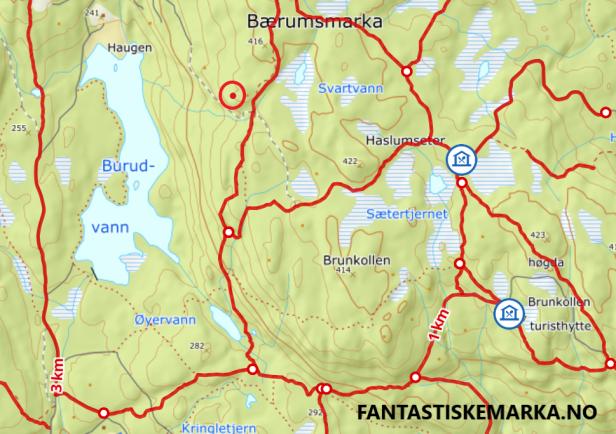 Gapahuken_ved_Burudvann_avmerket på kart