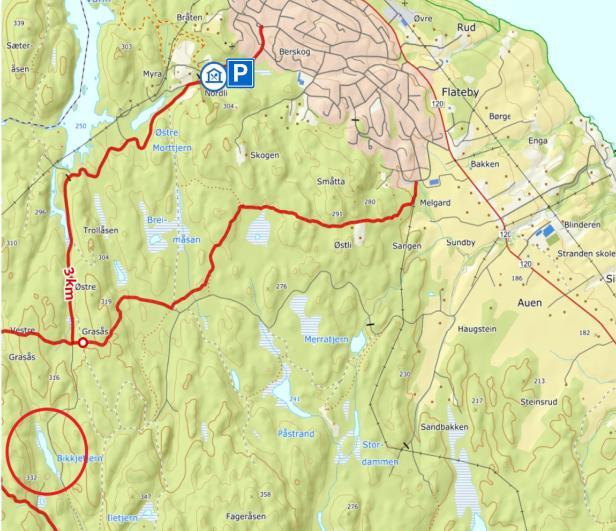 Kart til gapahuken ved Bikkjetjern i Enebakk - Oslomarka - Østmarka - Fantastiske marka